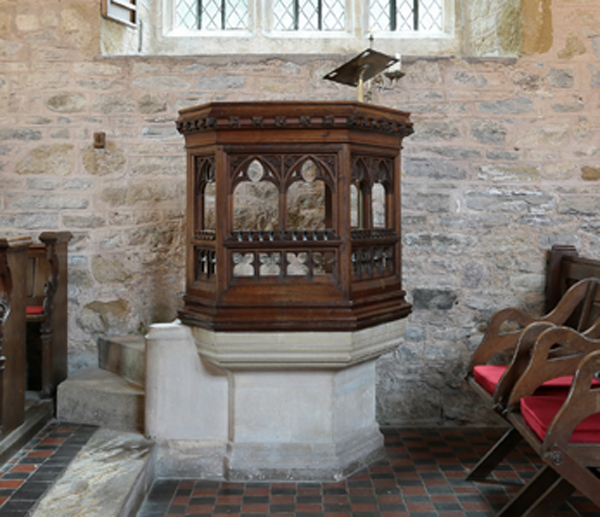 Pulpit at Brooksby Church